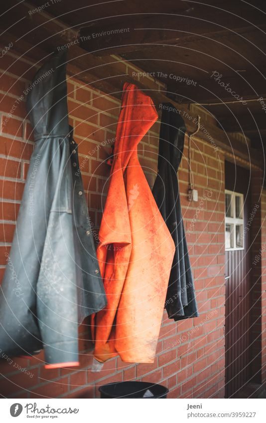 At the fisherman's in the small fishing village, the rain jackets hang next to each other outside the door Raincoat Rain jacket Fisherman Fishing village