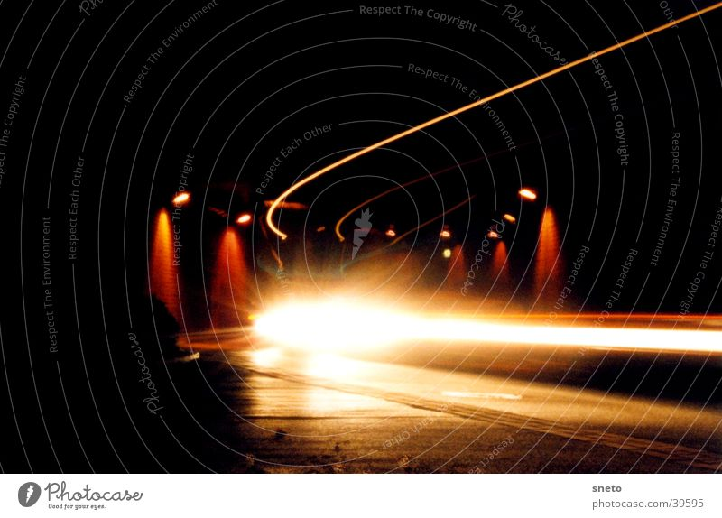 Weimar Tunnel Night Long exposure Truck Strip of light Transport Car Floodlight Street