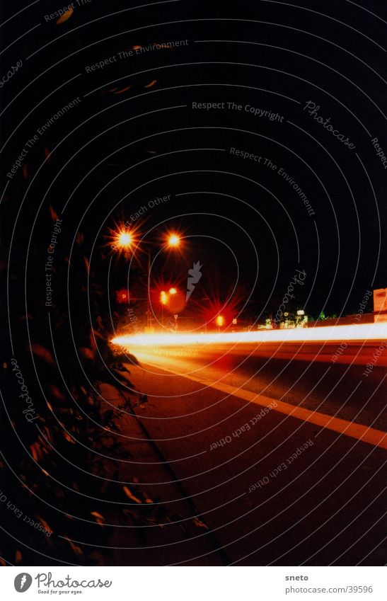 Frankfurter Street Night Long exposure Town Cycle path Traffic light Transport Car