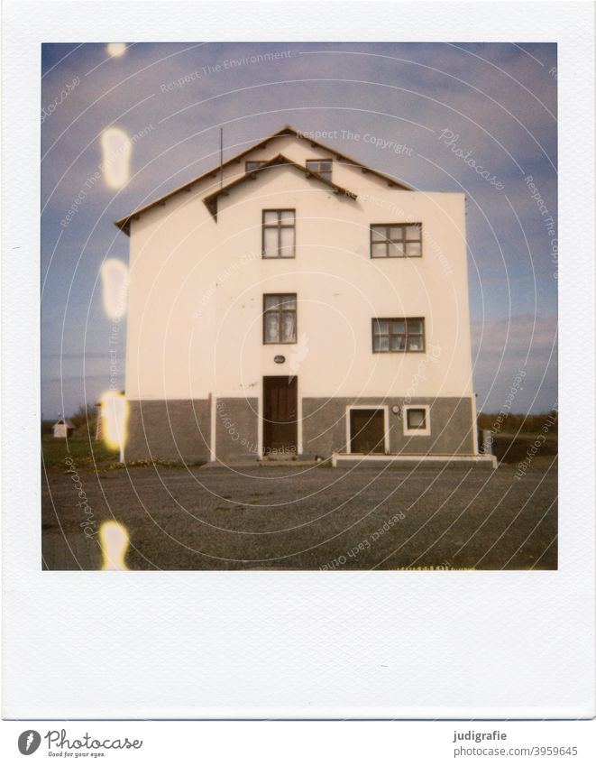 Icelandic house on Polaroid House (Residential Structure) Wood door Window Entrance Nature Deserted Building Apartment Building Detached house dwell