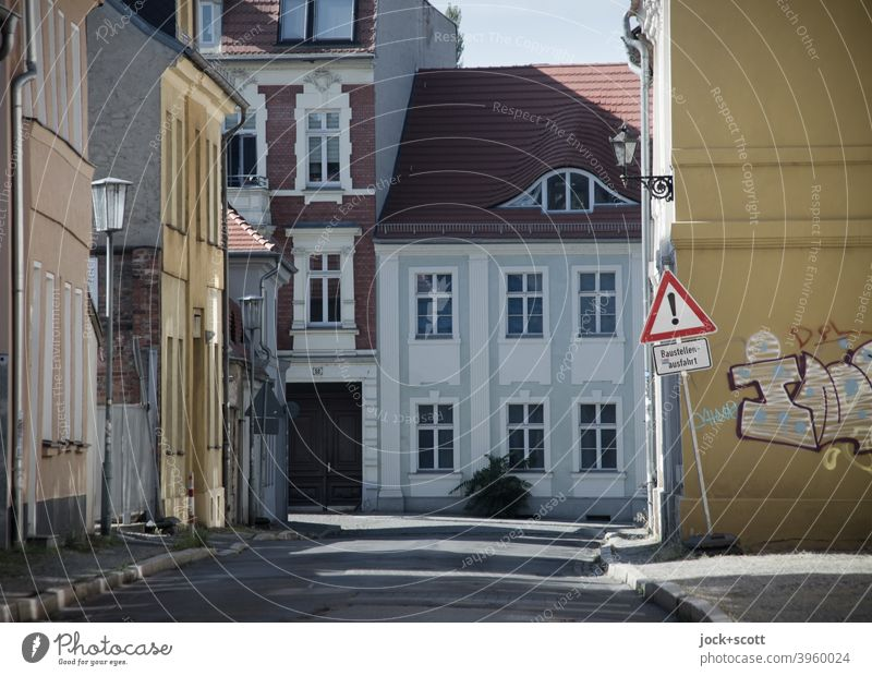as dead as dead streets Housefront Town house (City: Block of flats) Architecture Street Extinct Downtown Brandenburg an der Havel Facade Road sign Caution