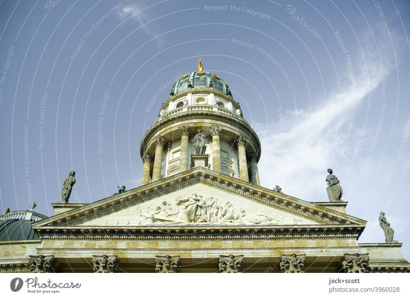German Cathedral (from the side view) Manmade structures building monument Dome Tower City centre Tourist Attraction Downtown Berlin Luxury Elegant