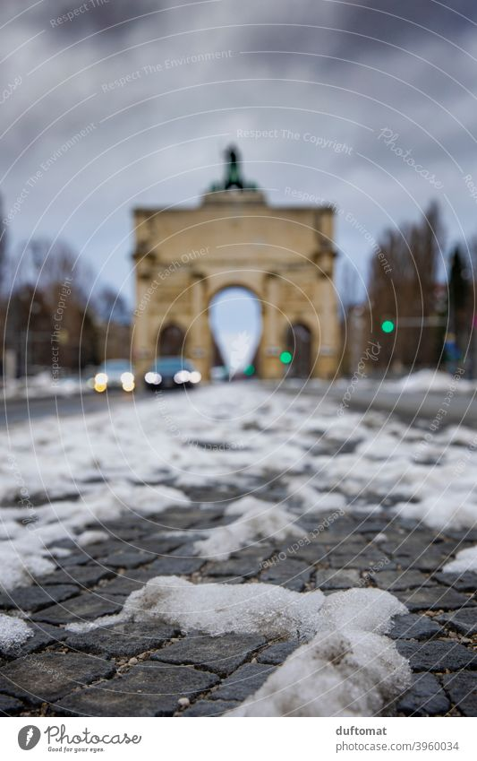 Munich, Siegestor with snow in shallow depth of snow Victory Gate Bavaria dof Snow Tourist Attraction Winter Winter mood Cold blurred background Frost