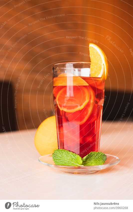 Cozy winter tea in restaurant. cozy orange peppermint interior serving coffee wooden style cup hot light nobody morning house mood cold steam relax tray living