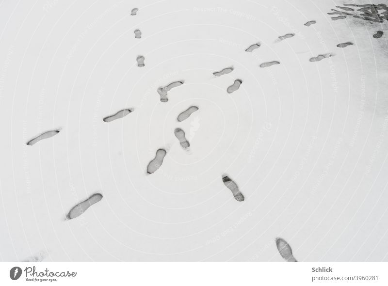 Footprints in the snow cross one went back and forth footprints Snow Cross Going tread water loner snow surface Tracks be on the spot Corner black-and-white two