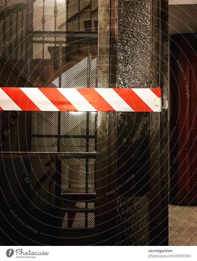 And again the elevator in the old building does not work.... flutterband Police Force cordon Crime scene door Elevator Historic Wood forbidden Bans