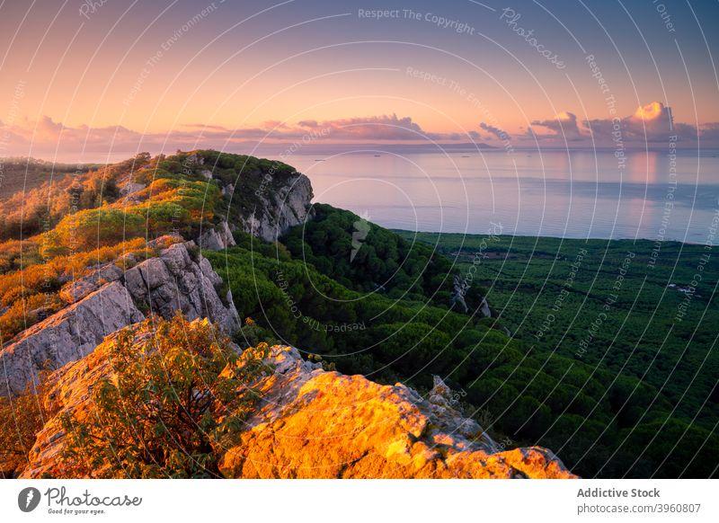 Picturesque rocky landscape and sea at sunset highland amazing forest sundown seascape cadiz andalucia spain calm harmony scenic nature sky coast picturesque