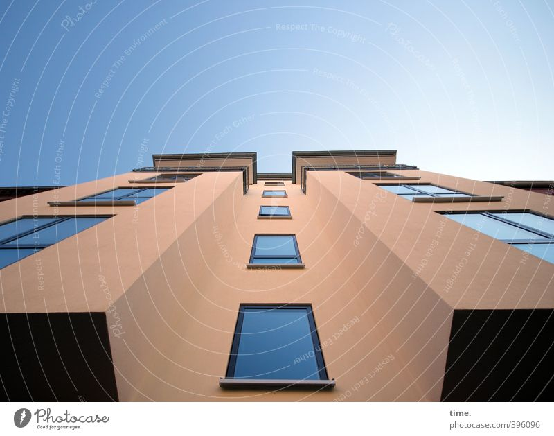 City House (Residential Structure) Window Wall (building) Architecture Wall (barrier) Building Facade Power High-rise Design Arrangement Tall Modern Beautiful weather Perspective