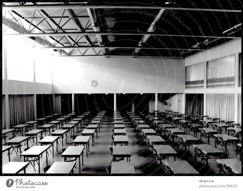 assembly hall Auditorium Wide angle Table Window Shaft of light Clock Architecture School Black & white photo Perspective Room Warehouse School building