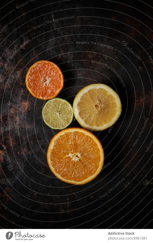 Top view of oranges, tangerines and lemon fruit lime food citrus healthy isolated juice green fresh juicy vitamin organic natural citric nature limes lemons