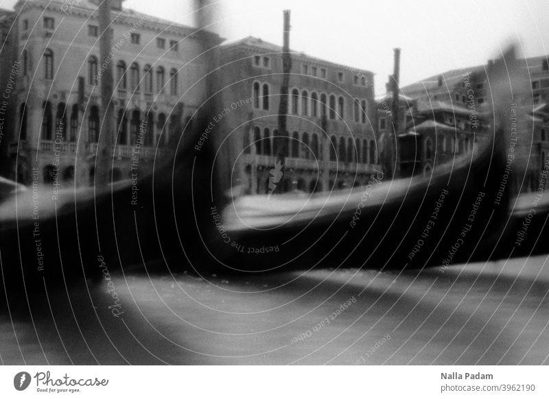Venetian gondolas Analog Analogue photo black-and-white Grand Canal Venice Venezia Italy motion blur