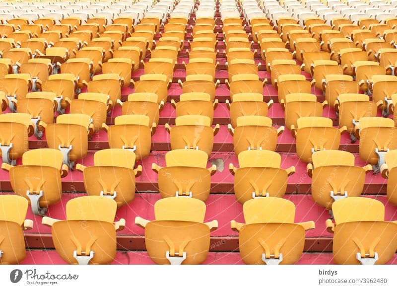 Empty seats in a stadium. Empty stadium, seats Stadium Stands Seating Sports Major event Foot ball Sporting Complex Deserted Many full-frame image