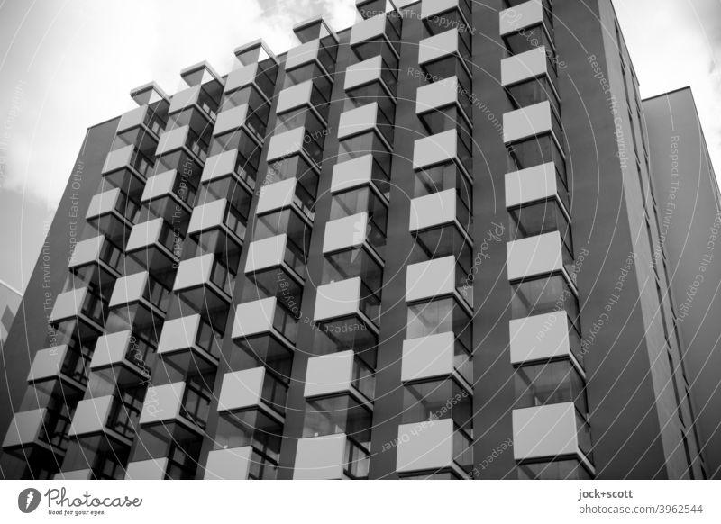 New housing unit / square, practical, happy New building Balcony Facade Cuboid Many Architecture Berlin Lichtenberg Sky Tower block Modern uniform