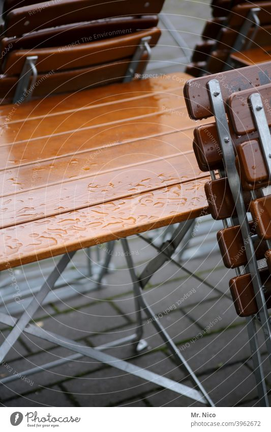 street cafe chairs Chair Seating Gastronomy Places Closed Café Table Restaurant Wood Beer garden Folding chair Terrace Sidewalk café raindrops Folding table