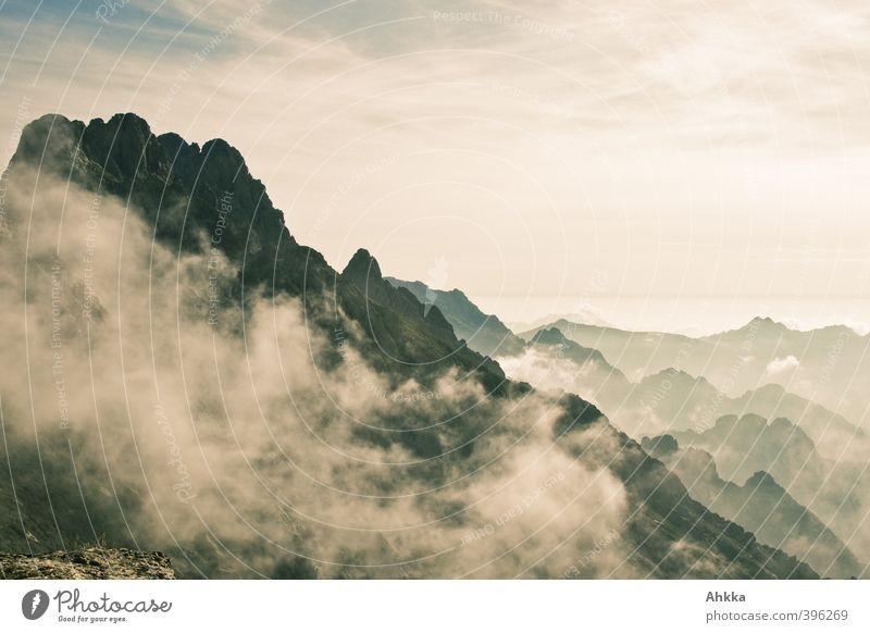 Ridges and peaks in the cloud haze in Corsica Healthy Wellness Harmonious Well-being Calm Vacation & Travel Far-off places Freedom Expedition Nature Landscape