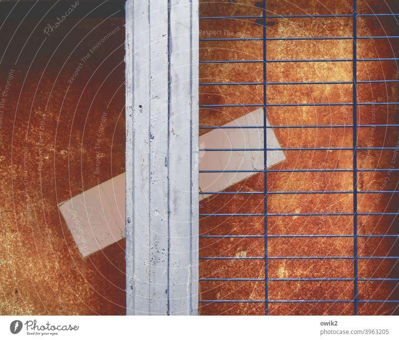 Lockdown Detail door Grating Gate Metal Frame Old Shabby Colour Bright Colours Stripe Paper obliquely altTilt puzzling Colour photo Exterior shot Deserted