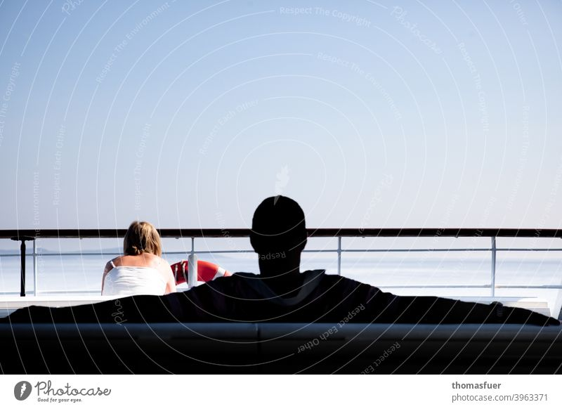 Man and woman on a ferry, ship Woman Stalking Marriage conflict Ocean Easygoing Macho Machismo pull smug relation Masculine relaxed dominance male dominance
