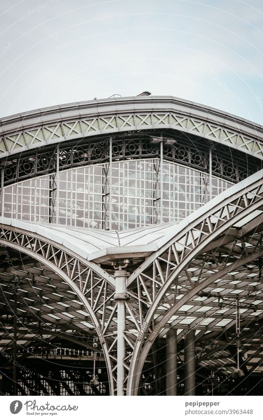 Cologne central station Central station Facade Architecture Building Train station Town Railroad Exterior shot Steel Part of a building Building exterior
