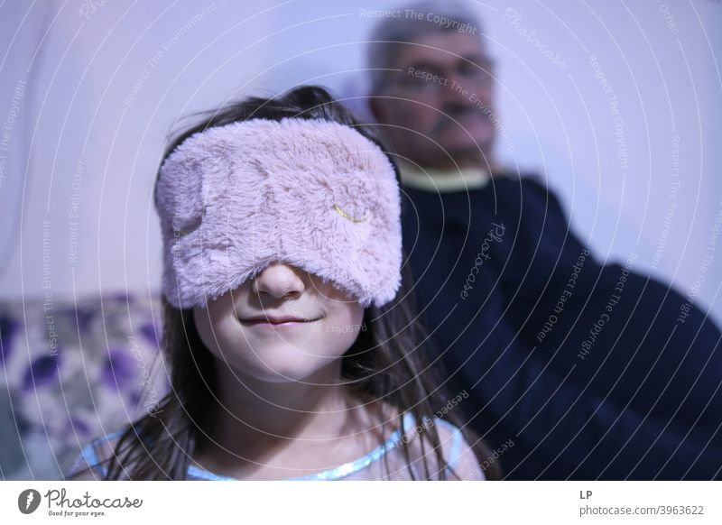 child wearing a sleep mask Night Evening Morning Colour photo Relaxation Wellness Mask Dreamily Comfortable Contentment Emotions Pink Cuddly Sleep Feminine