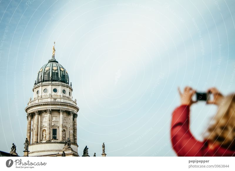 Berlin Cathedral with a tourist in the foreground photographing it Capital city Dome Exterior shot Architecture Tourist Attraction Manmade structures Building