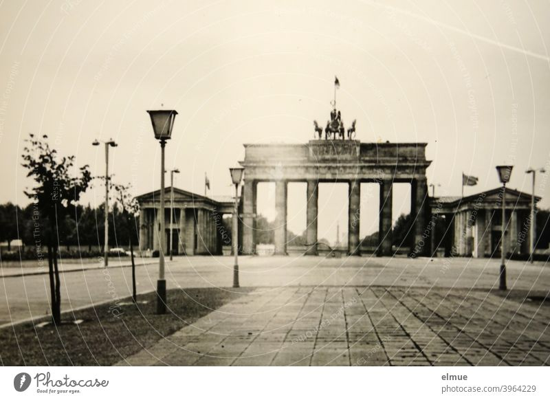 Black and white picture of the Brandenburg Gate in Berlin from the 1970s / analogue photography east Triumphal Gate early classicist Pariser Platz Photography