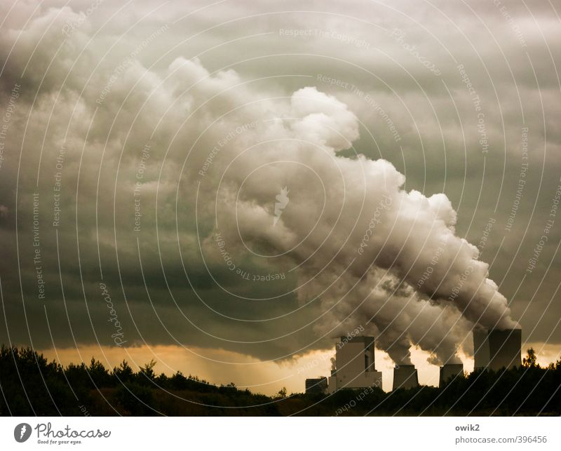 apocalypse Technology Energy industry Coal power station Lusatian brown coal mining area Cooling tower Steam Emission Harmful substance Environment Nature Sky