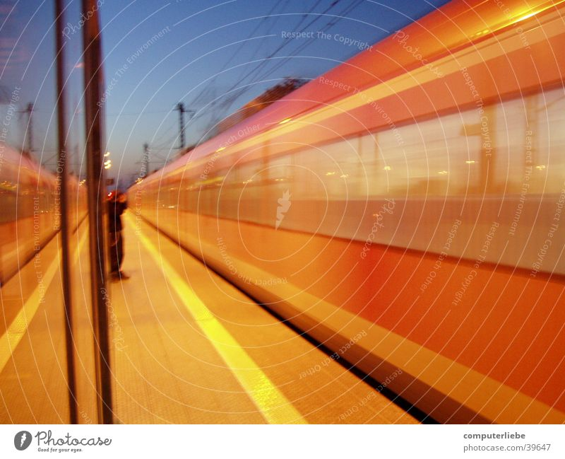 The train is coming Regional railroad Troisdorf Motion blur Transport Railroad Train station