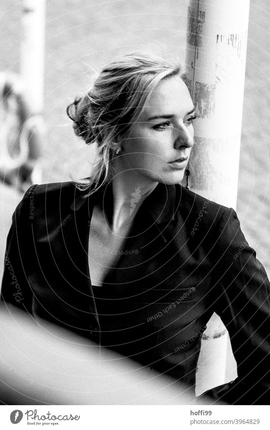 the young woman looks calmly into the distance portrait Woman melancholy Face Face of a woman Young woman Feminine naturally Authentic pretty Beauty Photography