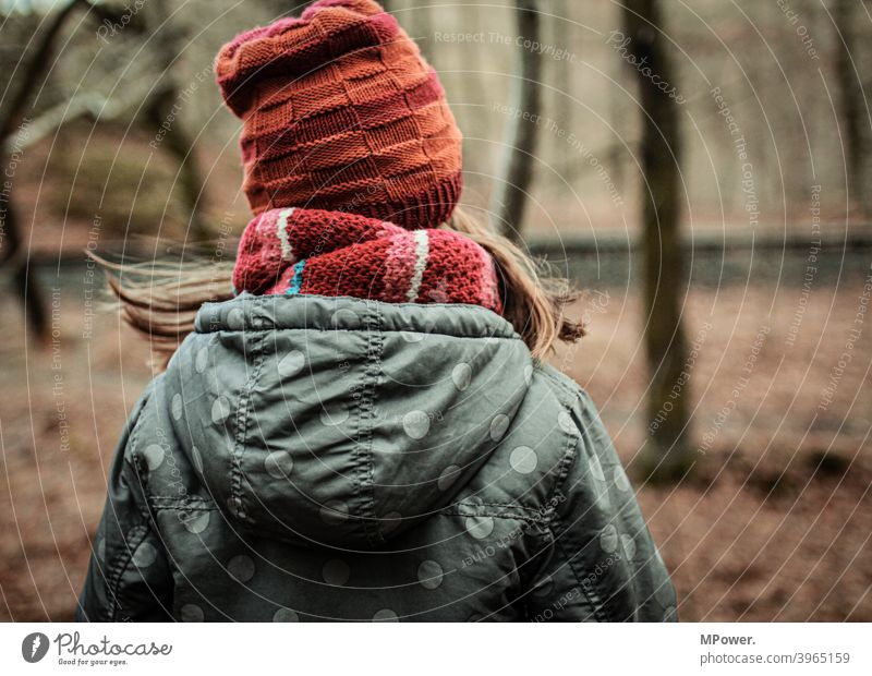 out in the woods Child Forest Autumn autumn colours Autumn leaves Tree Hiking Playing on one's own warm clothing Scarf Loneliness forsake sb./sth. Infancy