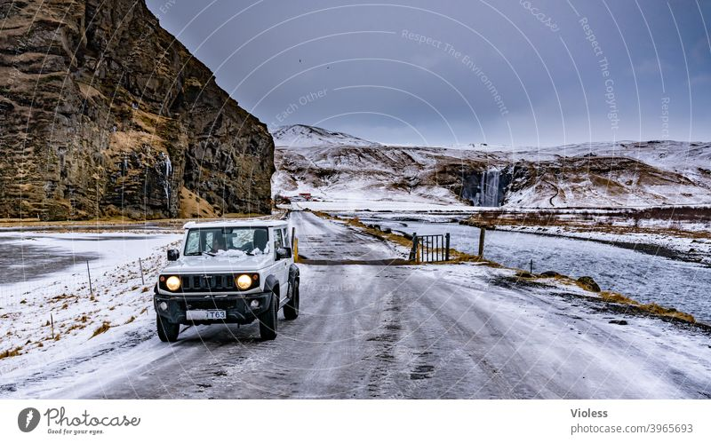on the way - Iceland Landscape naturally Vacation & Travel mountains Mountain Deserted Blue Frost Snow Clouds infinitely Nature Street Direct Frozen