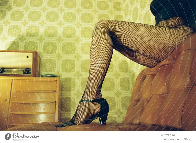 Woman Legs Stockings Hind quarters Room Living room Ancient Fishnet tights