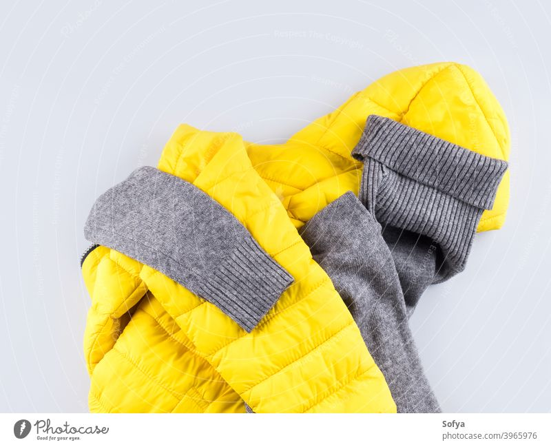 Fashion outfit gray turtle neck with yellow jacket clothes winter coat fashion sleeve ski shopping sweater sport accessories color autumn illuminated female