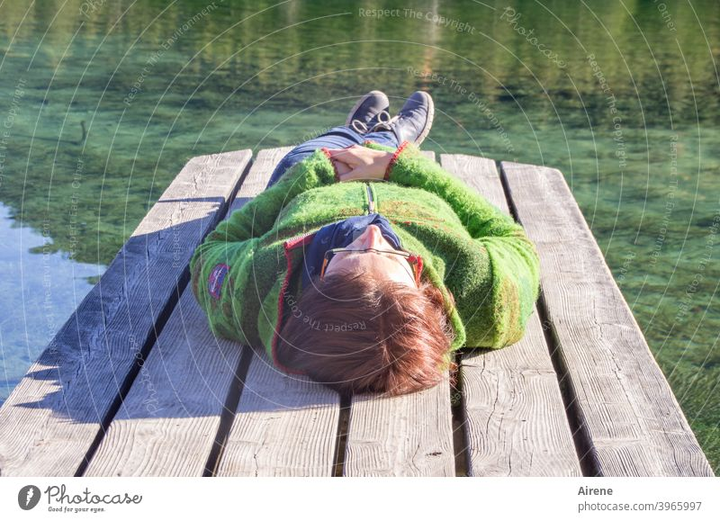 I'm gonna lie here for so long... Woman Footbridge Lake Water sunbathe Sunbathing Rural Lie Rest rest Swimming lake Autumn Summer Vacation & Travel