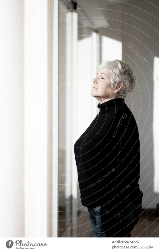 Relaxed senior woman at home by the window caucasian elderly european lifestyle portrait people relaxing retired serene white hair mother grandmother