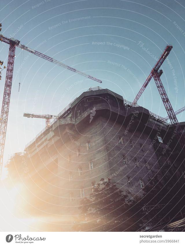 Blinded by the crane ballet in the sunrise. Dugout Crane Construction site Hamburg Sunlight Sunrise Architecture Exterior shot Colour photo Deserted Town