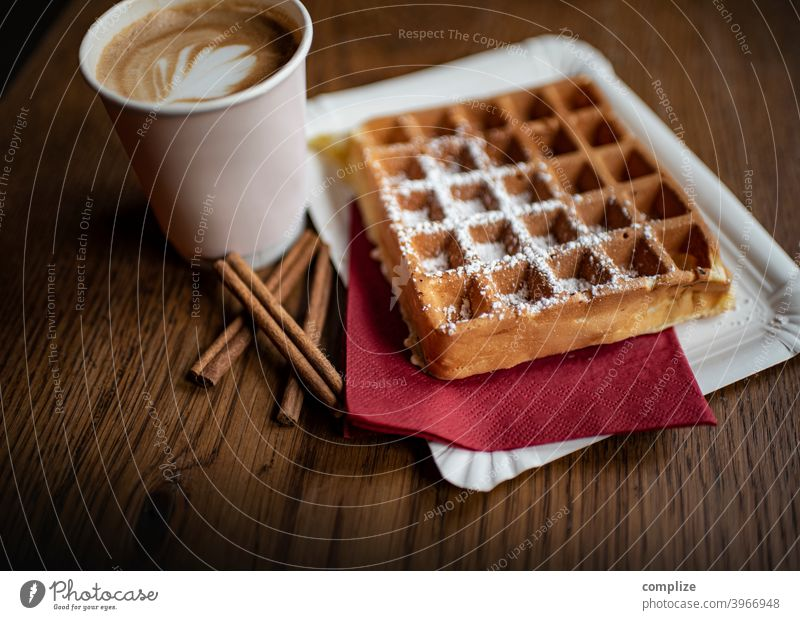 Belgian waffles and cappuccino take away Waffle Desserts biscuits to go coffee flat white Cappuccino Latte macchiato barista Wooden table Cinnamon