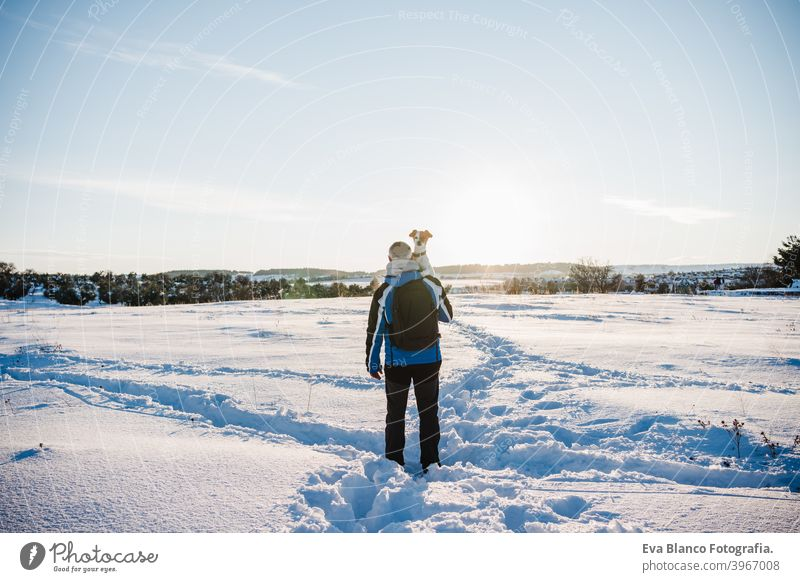 back view of man in snowy mountain at sunset holding cute jack russell dog. Travel and sport outdoors concept. Winter season travel owner pet love together