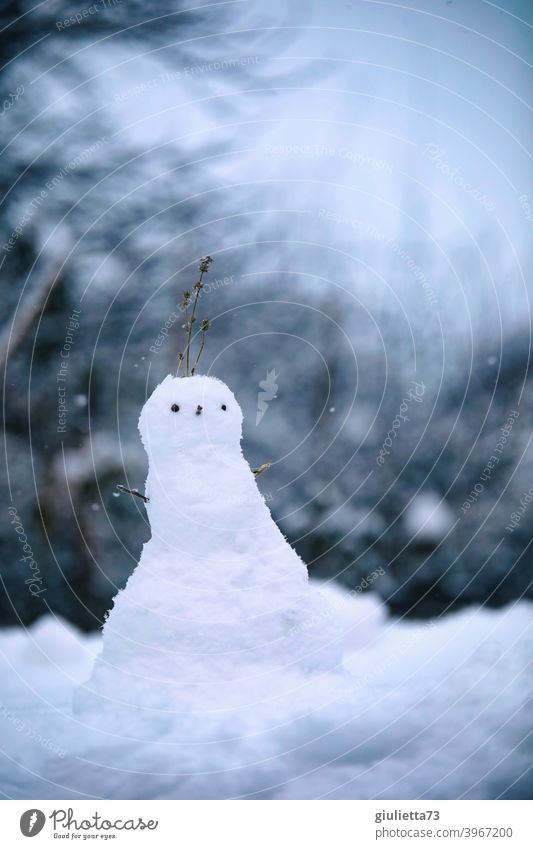 Small miniature snowman at the beginning of the blue hour Snowman Winter White winter weather Winter mood Winter's day wintertime Cold Outdoors Playing