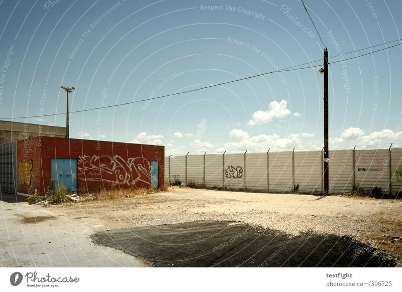 funky broadway Industry Port City Outskirts Deserted Industrial plant Factory Wall (barrier) Wall (building) Street Graffiti Dirty Hot Town Loneliness Crisis