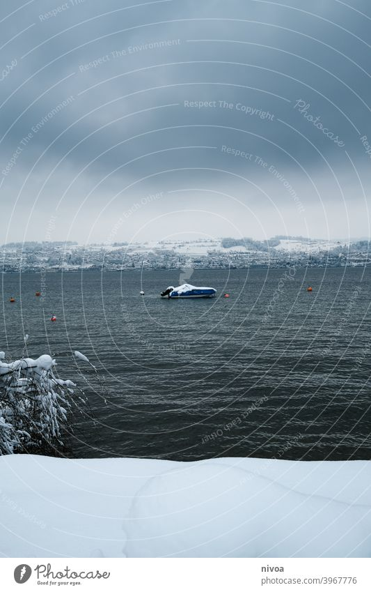 Boat on Lake Zurich in winter boat zurichsee Winter Snow Dreary winter weather snowed in Tree Lakeside Mountain Landscape male village Colour photo