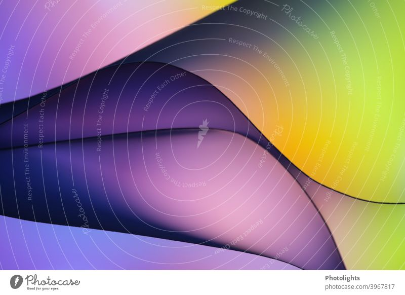lines on yellow green purple background shape Curved Red Blue Violet Paper Round Colour photo Studio shot Close-up Multicoloured Pattern Structures and shapes