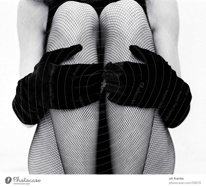paradise Woman Feminine Fishnet tights Lady Human being Legs Black & white photo