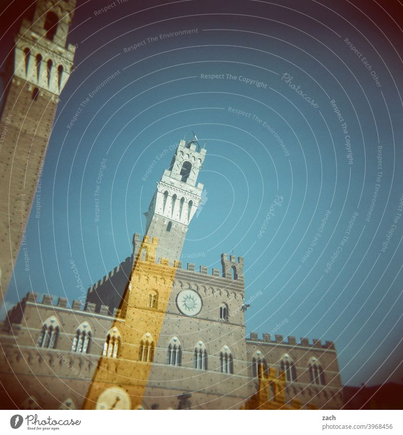 Sienna, shaken Siena Italy Tuscany Analog Slide Lomography Scan Holga Double exposure Sky Town Tower Places piazza del campo