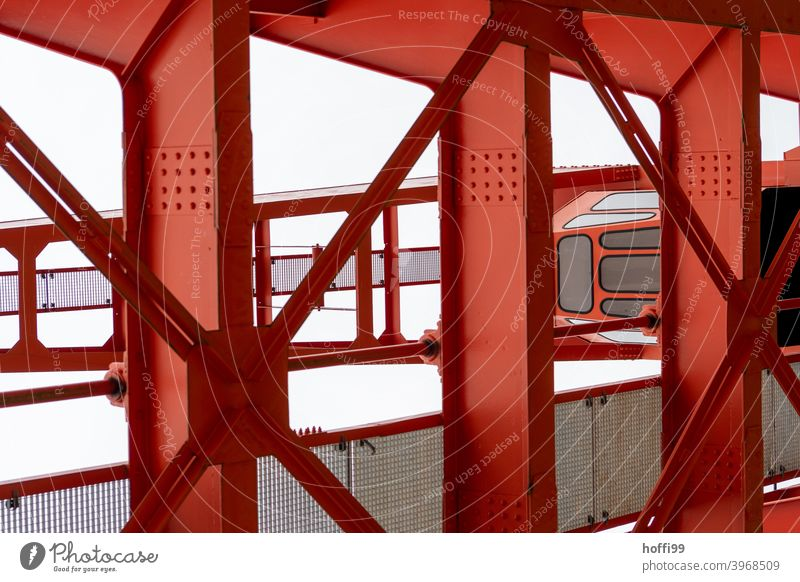 red steel construction of a harbour crane Red Steel Steel carrier Crane Construction Bridge Iron Industry Metal Steel construction Detail loading crane Consign