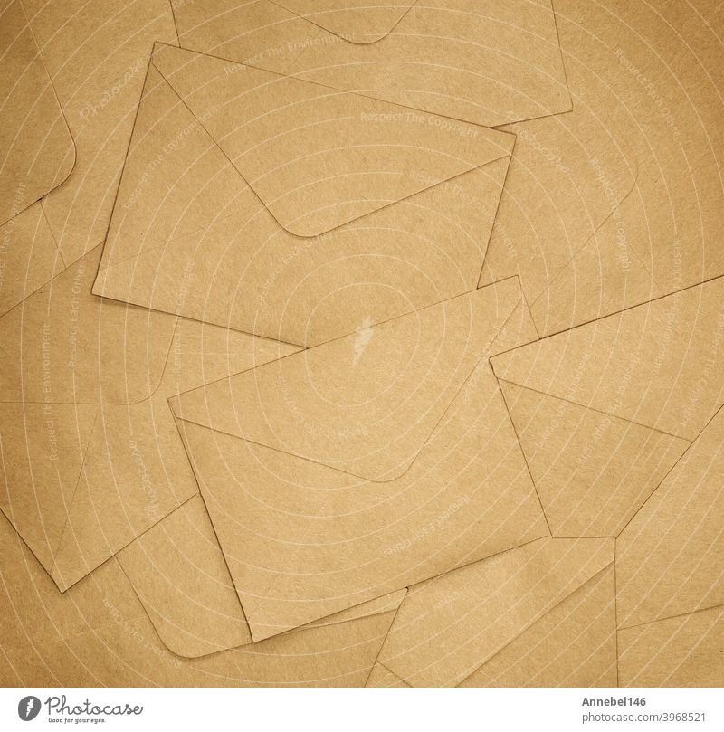 Brown Envelopes background texture, brown plain paper, copy space top view letter envelope blank message stationery postal mail postage office business design