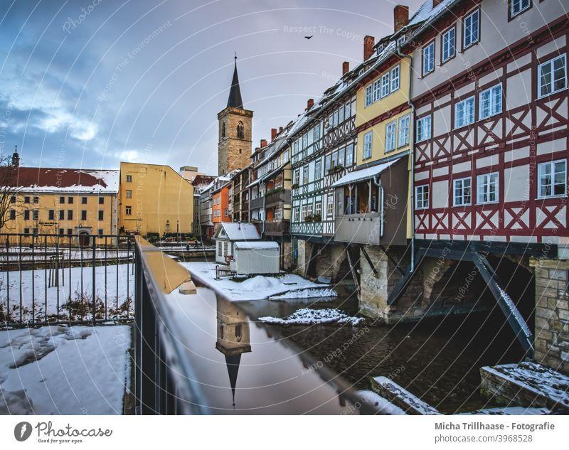 Krämerbrücke Erfurt in winter shopkeeper's bridge Thuringia Town Old town Church spire Building Manmade structures Historic Tourist Attraction Architecture