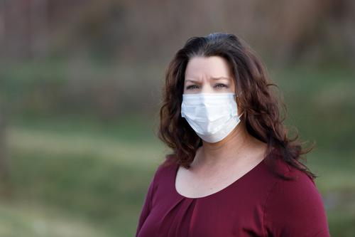 Wife wears mouth guard outdoors Mask pandemic corona Virus Protection Regulations Healthy guard sb./sth. Infection avoid Hide wd Corona virus Risk of infection