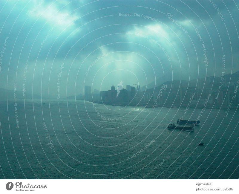 Clouds Dark Success Harbour Hongkong China Oil tanker Sunspot
