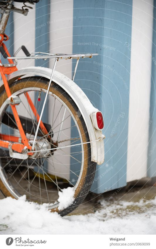 Bicycle with snow Snow Folding bicycle vintage Retro Winter Light Orange Blue Mobility Transport Parking tranquillity