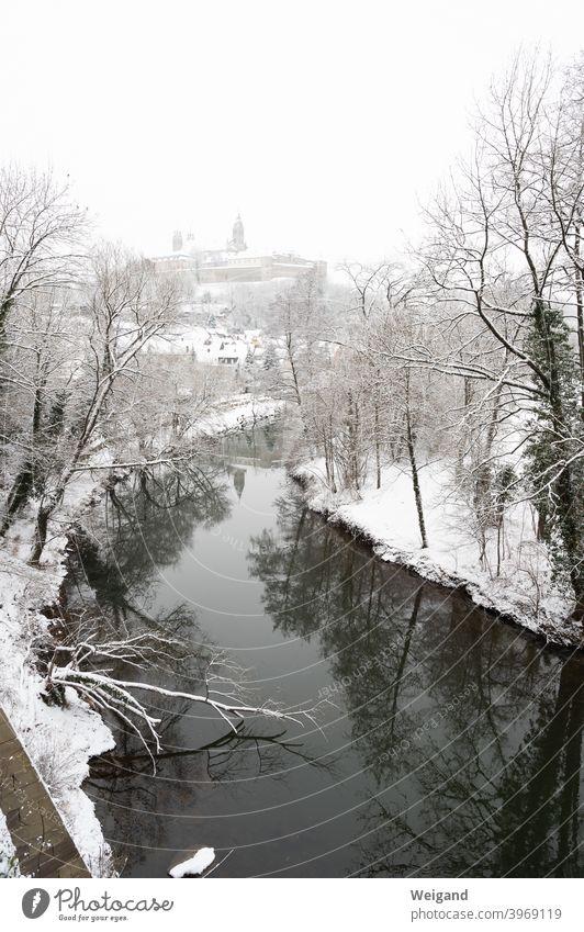 Comburg in Schwäbisch Hall in winter comburg Medieval times Winter Snow River Cooker Cold Baden-Wuerttemberg Tourist Attraction Hohenlohe